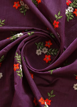 Purple Embroidered Chanderi Silk Fabric