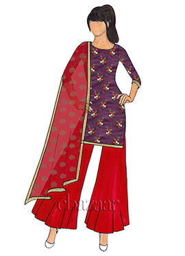 Purple Embroidered Chanderi Silk Palazzo Suit