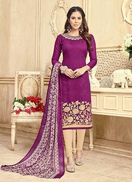Purple Embroidered Churidar Suit