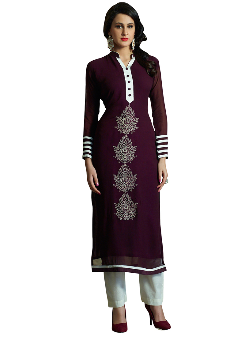 Buy wine color embroidered georgette kurti long kurti for Online shopping branded shirts