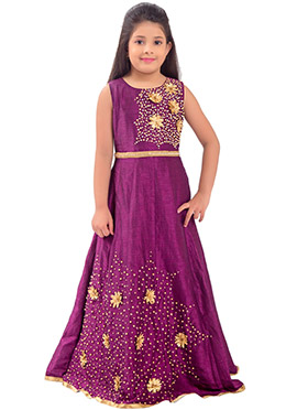 Purple Embroidered Kids Anarkali Gown