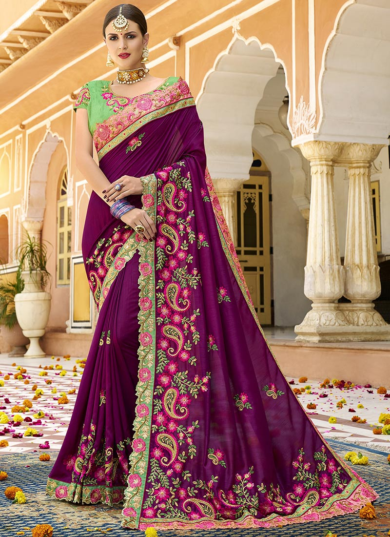 867cd364c0 Buy Purple Embroidered Saree, Embroidered, sari Online Shopping ...
