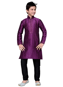 Purple Embroidered Striped Art Silk Boys Kurta Pyj