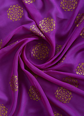 Purple Foil Printed Georgette Fabric