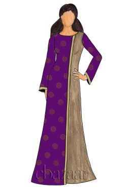 Purple Foil Printed Georgette Fustan