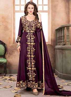 Purple Front Slit Anarkali Suit