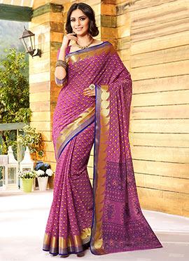 Purple Gadwal Cotton Silk Printed Foliage Designed