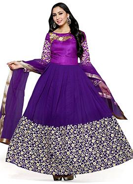 Purple Georgette Anarkali Suit