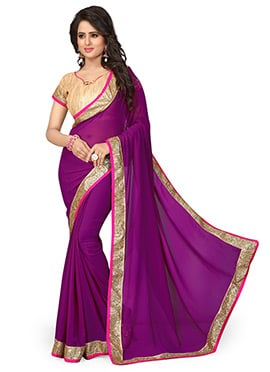 Purple Georgette Border Saree