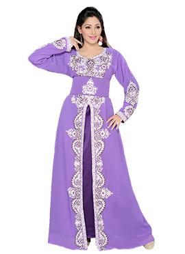 Purple Georgette Embellished Center Slit Fustan
