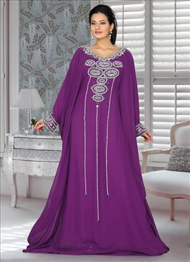 Purple Georgette Farasha Fustan