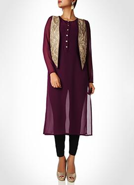 Purple Georgette Jacket Style Tunic