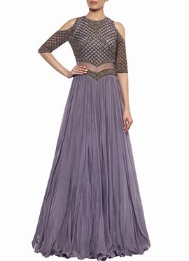 Purple Georgette Net Skirt Set