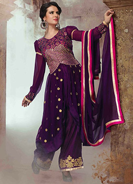 Purple Georgette Palazzo Suit