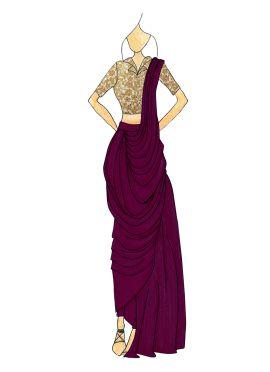 Purple Georgette Pre Draped Saree