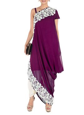 Purple Georgette Straight Pant Set