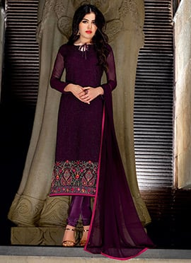 Purple Georgette Straight Suit