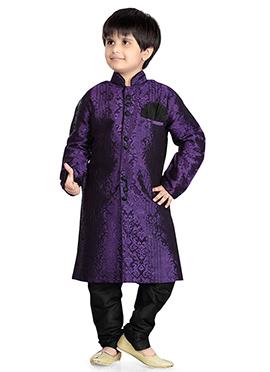 Purple Jacquard Art Silk Kids Kurta Pyjama