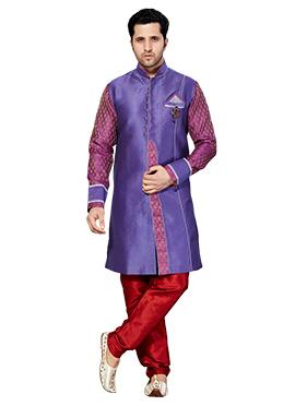 Purple Jacquard Sherwani
