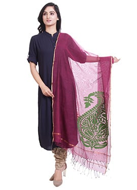 Purple Jute Net Dupatta