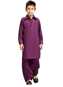 Purple k And U Pathani Suit