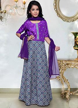 Purple Kids Anarkali Suit