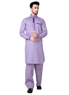 Purple Linen Cotton Pathani Set