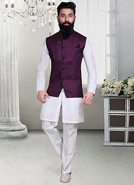 Purple Linen Nehru Jacket