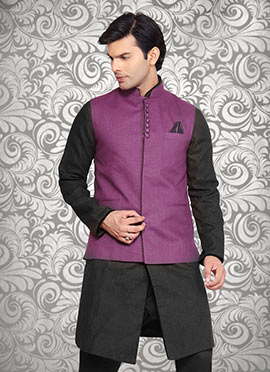 Purple Linen Nehru Jacket