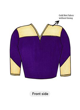Purple Long Blouse with Net Yoke and Sleeve
