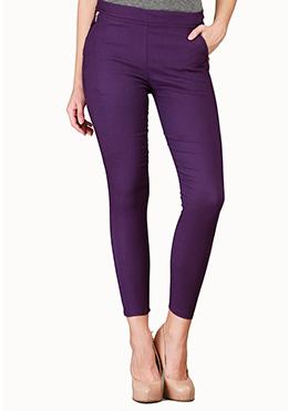 Purple Lycra Cotton Straight Pant