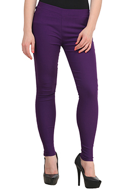 Purple Lycra Cotton Straight Pant