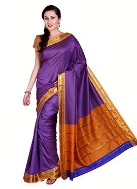 Purple Mangalgiri Poly Cotton Saree