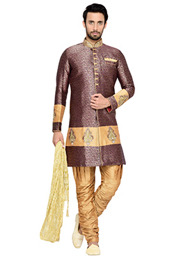 Purple N Beige Shade Breeches Style Indowestern Sherwani