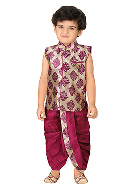 Purple N Beige Silk Blend Boys Sherwani