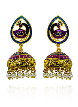 Purple N Blue Meenakari Jhumka Earring