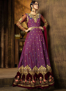 Purple N Brown Art Silk Abaya Style Anarkali Suit