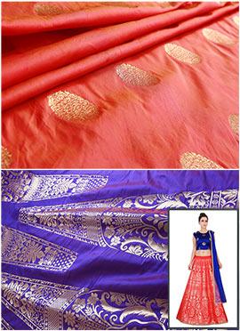 Purple N Burnt Orange A Line Lehenga Choli