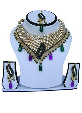 Purple N Green Zircon Stone Necklace Set