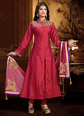 Purple N Magenta Art Silk Anarkali Suit
