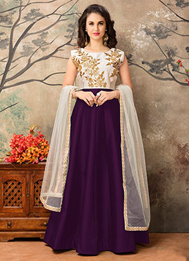 Purple N Off White Abaya Style Anarkali Suit