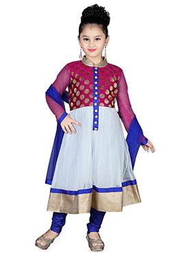 Purple N Off White Kids Anarkali Suit