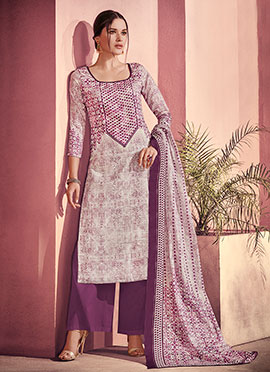 Purple N Off White Printed Palazzo Suit