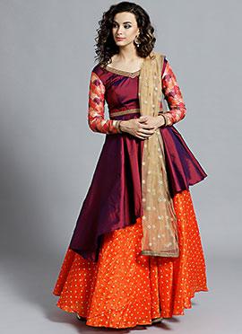 Purple N Orange Contrast Umbrella Lehenga