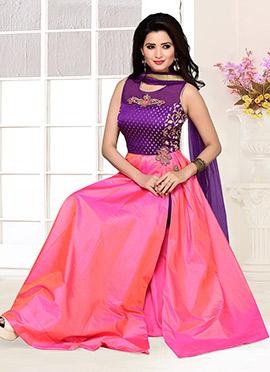 Purple N Pink Art Silk Anarkali Suit
