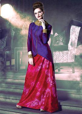 Purple N Pink Art Silk Skirt Set