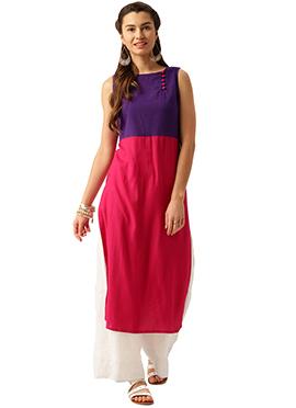 Purple N Pink Cotton Kurti