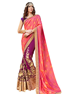 Purple N Pink Half N Half Saree