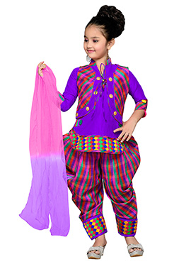 Purple N Pink Kids Jacket Style Patiala Suit