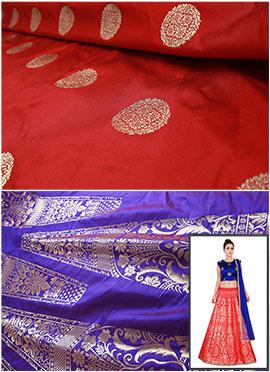 Purple N Red Art Silk A Line Lehenga Choli